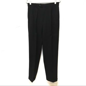 PAUL DIONE BLACK WOOL PLEATED CUFFED TROUSER PANTS